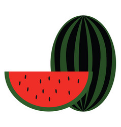 Clipart a big watermelon and a slice of vector