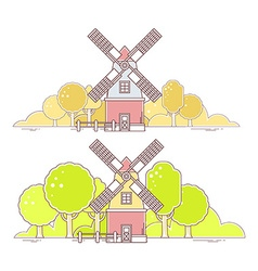 color gray and red windmill with autumn vector image