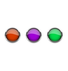 colored glass 3d buttons with chrome frame round vector image