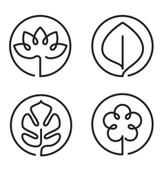 continuous line art logo set of flower leaf lotus vector image
