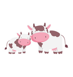 Cows cattle livestock farm animal cartoon isolated vector