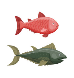 cute fish cartoon funny swimming graphic animal vector image