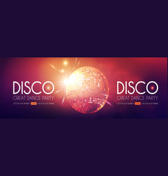 disco party flyer templatr with mirror ball and vector image