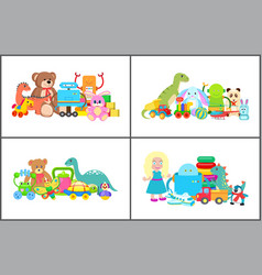 Doll and teddy bear collection vector