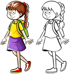 doodle drafting of girl with backpack vector image