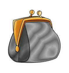 Drawing money purse safe finance icon vector