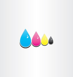 drops of cmyk ink printing symbol vector image
