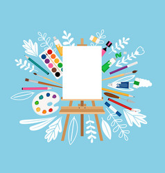 Easel for painting workshop vector