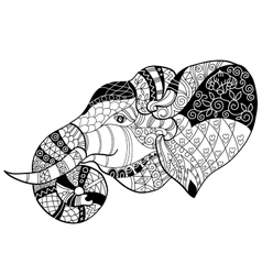 Elephant head doodle on white sketch vector image