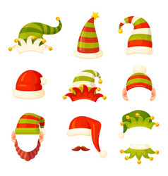elven christmas colorful striped hats vector image