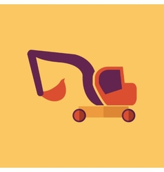 Excavator Transportation Flat Icon vector