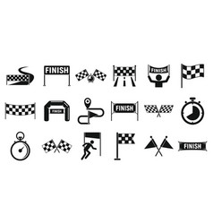 Finish icons set simple style vector