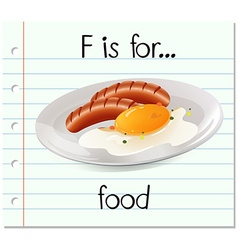 Flashcard letter F is for food vector image