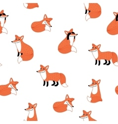 Funny fox hand drawn seamless pattern vector image