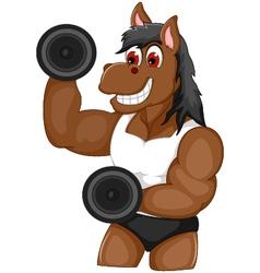 Funny horse cartoon fitness vector