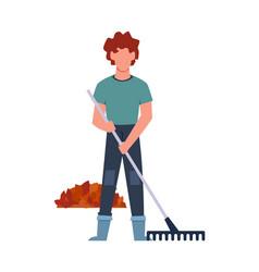 Gardener performs seasonal work male character vector