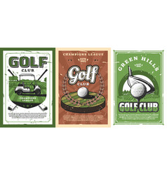 Golf clubs balls and cart on cource green field vector