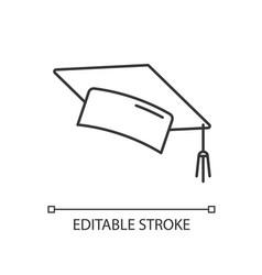 graduation cap linear icon vector image
