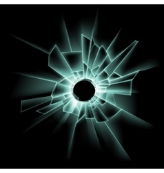Green Broken Glass Window with Bullet Hole vector image