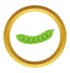 Green pea pod icon vector