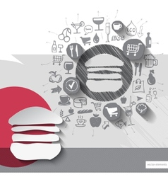 Hand drawn burger icons with food icons background vector