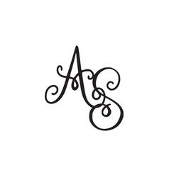 handwritten monogram as icon vector image