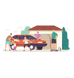 Happy family wash car at cottage back yard vector