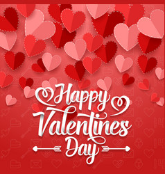 happy valentines day with paper heart vector image