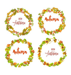 hello autumn emblems with wreaths made of colorful vector image