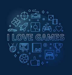 i love games concept round outline blue vector image
