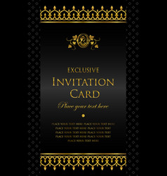 invitation card - luxury gold and black style vector image