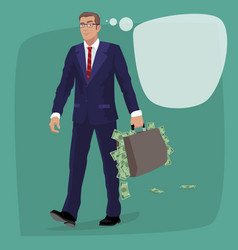 Isolated man with briefcase full of cash money vector