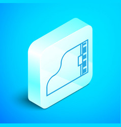 Isometric line grand piano icon isolated on blue vector