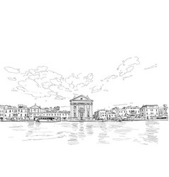 jesuit church venice italy city sketch vector image