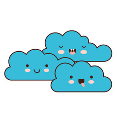kawaii cumulus clouds icon flat in colorful vector image