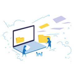 laptop screen businessman hold folder internet vector image