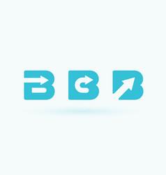 letter b set with arrow inside flat cartoon style vector image