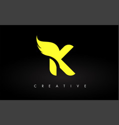 Letter k logo with yellow colors and wing design vector
