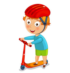 little boy on a scooter in a helmet vector image