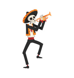 male skeleton in mexican national costume vector image