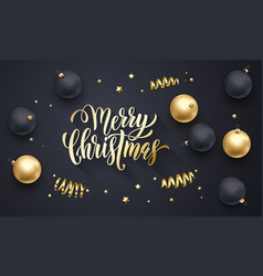 merry christmas golden decoration hand drawn vector image
