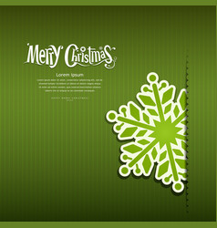 Merry Christmas Snowflakes paper green background vector