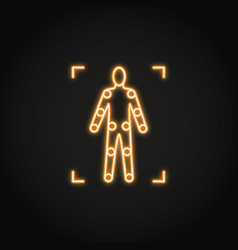 movement tracking icon in glowing neon style vector image