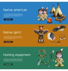 Native American Banners With National Attributes vector image