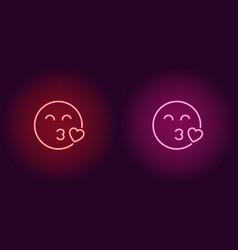 neon of enamored emoji icon vector image