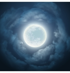 Night sky with the moon and cloud vector