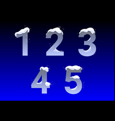 Numbers with snow caps vector