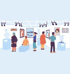 people in gallery visitor modern art vector image