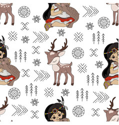 pocahontas deer cartoon american native culture se vector image
