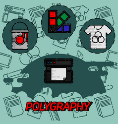 Polygraphy flat concept icons vector
